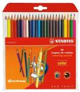 24 x STABILO SWANO COLOURING PENCILS - Includes Neon Colours, Hexagonal Shape